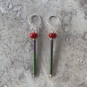 Red enamel earrings - handmade glass beads
