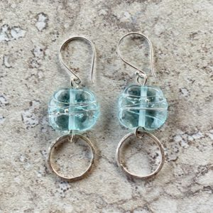 Recycled glass earrings and textured sterling silver rings