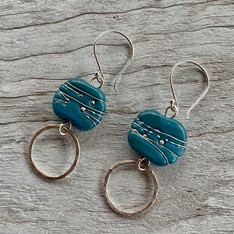 Blue and silver Italian glass handmade earrings