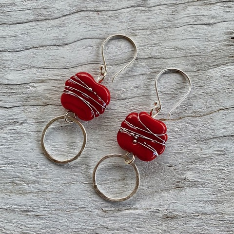 Red Italian handmade glass earrings
