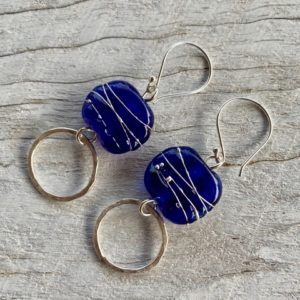handmade recycled glass earrings, beads made from a Skyy Vodka bottle