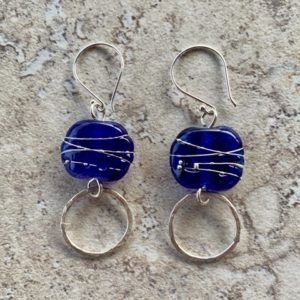 Skyy Vodka and silver earrings, handmade recycled glass beads