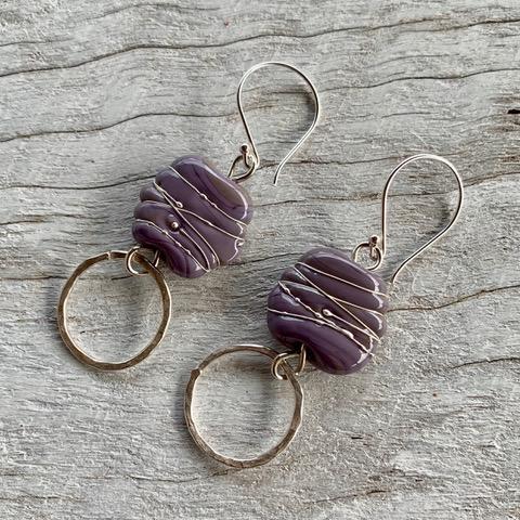Violet handmade glass bead earrings