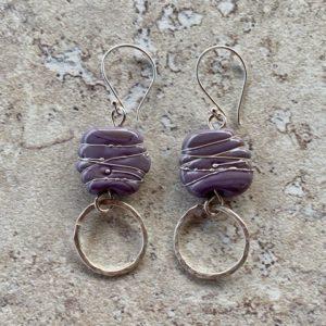 Violet handmade glass earrings