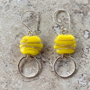 Yellow handmade glass bead earrings
