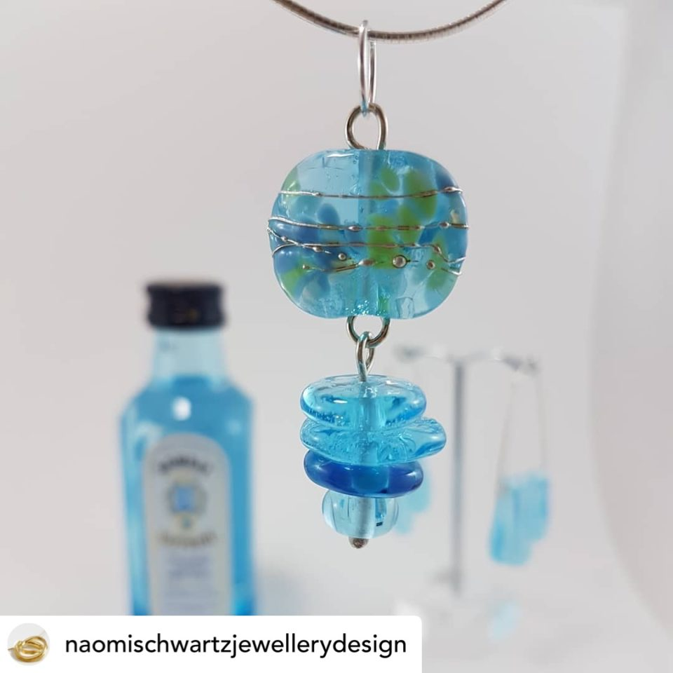 Bombay Sapphire Gin pendant necklace at Naomi Schwartz Jewellery Design Gallery