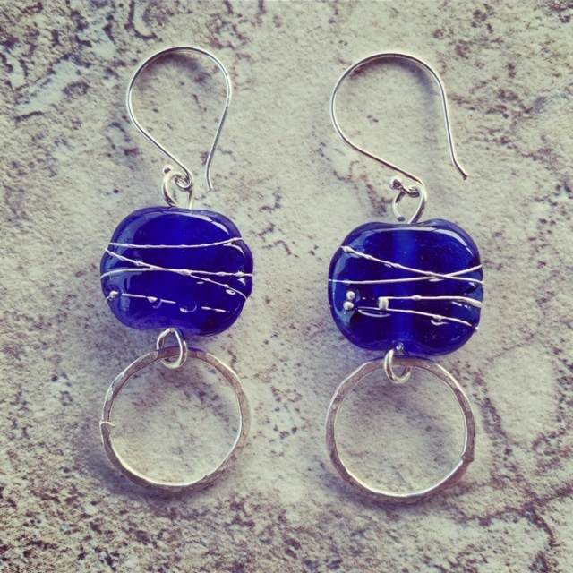 Handmade recycled glass beads made from a Skyy Vodka bottle, beautiful blue glass earrings