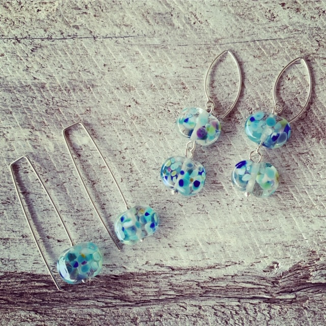 Recycled glass earrings made from wine bottles