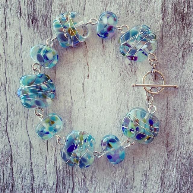 Blue recycled glass wine bottle bracelet