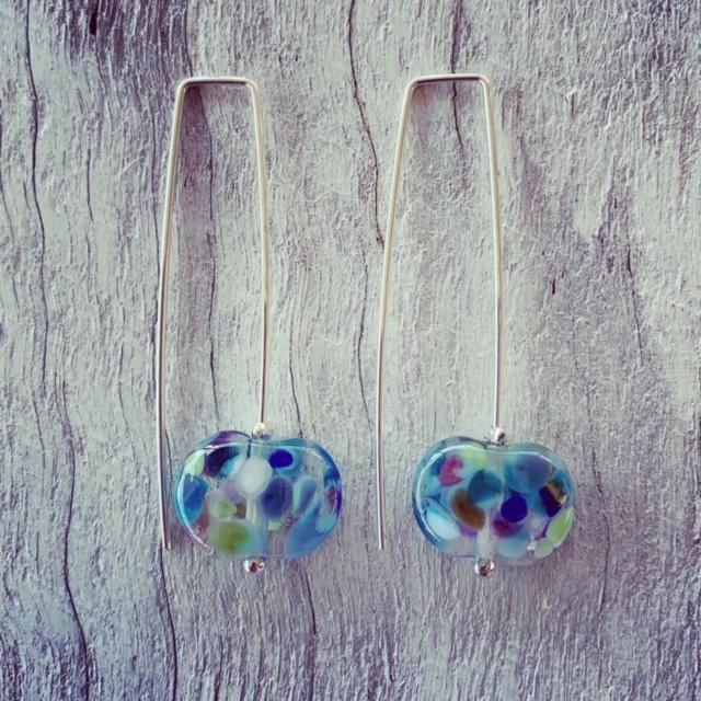 Pretty blue wine bottle earrings
