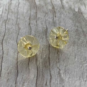 pretty yellow stud flower earrings