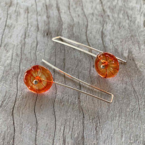 Pretty orange flower earrings for spring