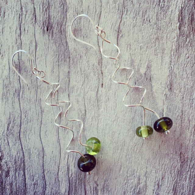 Green recycled glass spiral earrings