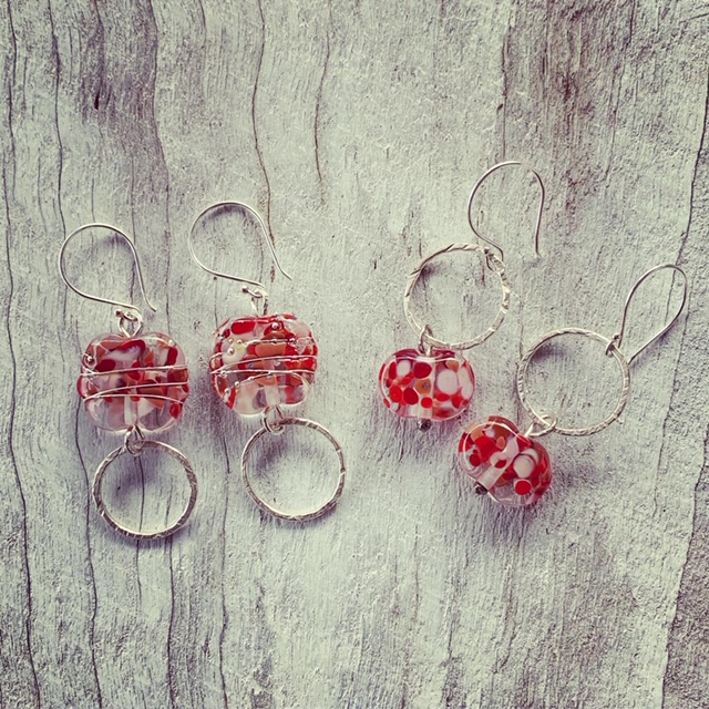 Recycled glass bead earrings, beads made from a wine bottle
