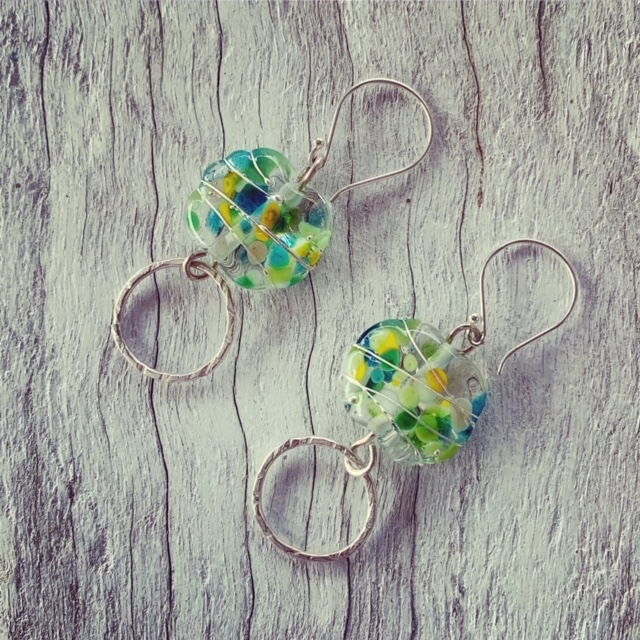 Green Recycled glass earrings made from a wine bottle