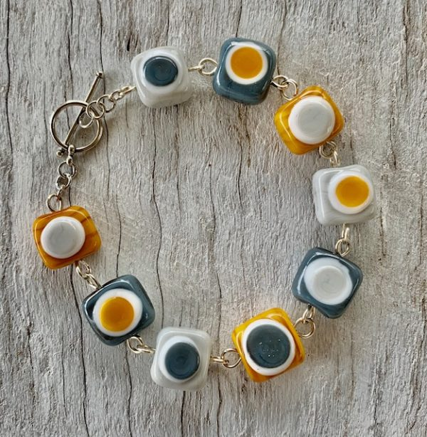 Mustard and Grey Glass Bead bracelet