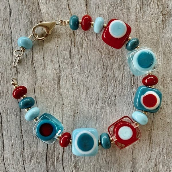 red and blue glass bead bracelet