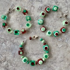 brown and green glass bead bracelets