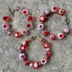 pink purple coral glass bead bracelets
