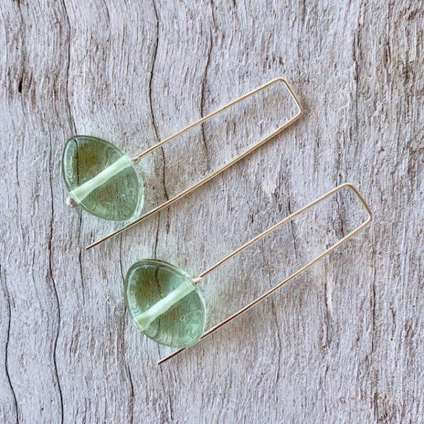 Green Depression Glass Earrings