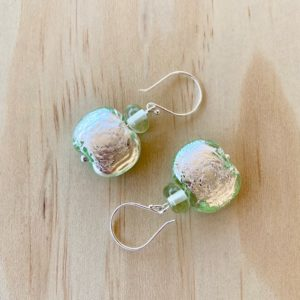 Green Depression Glass Earrings