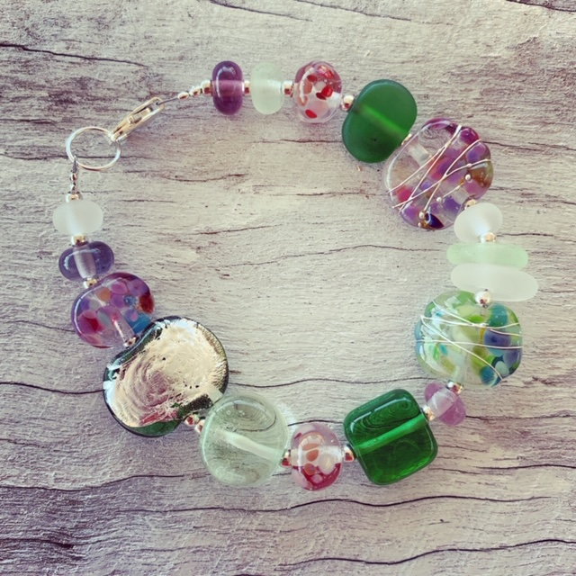 Beautiful recycled glass bracelet from all sorts of recycled glass objects