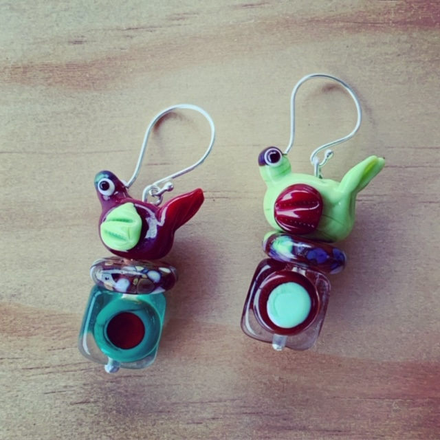 Glass bird earrings