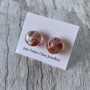Wine bottle stud earrings, beads made from a wine bottle