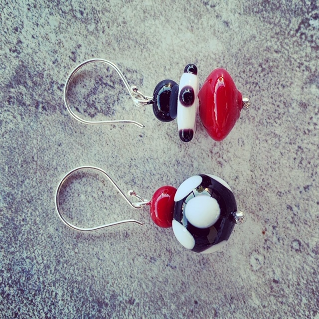 red black and white glass earrings