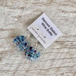 blue wine bottle earrings