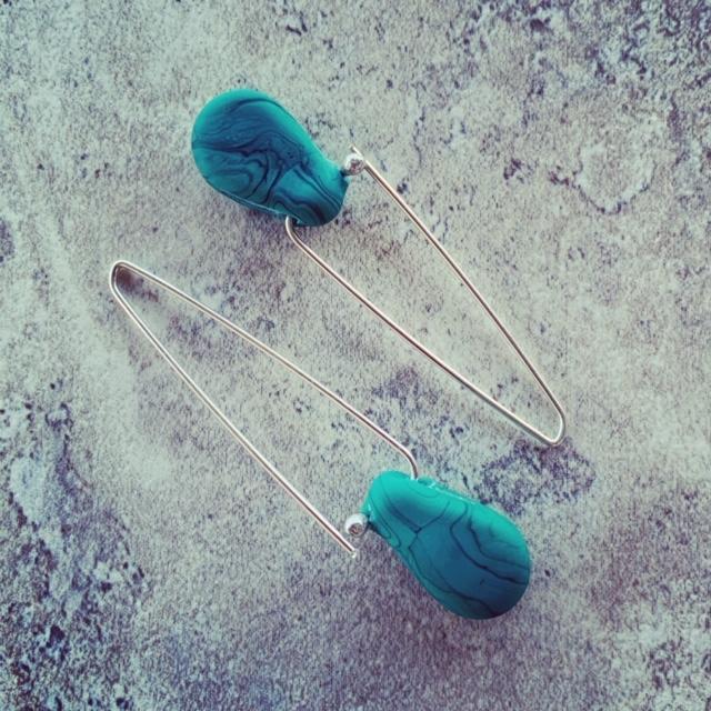 Streaky Green Glass Earrings