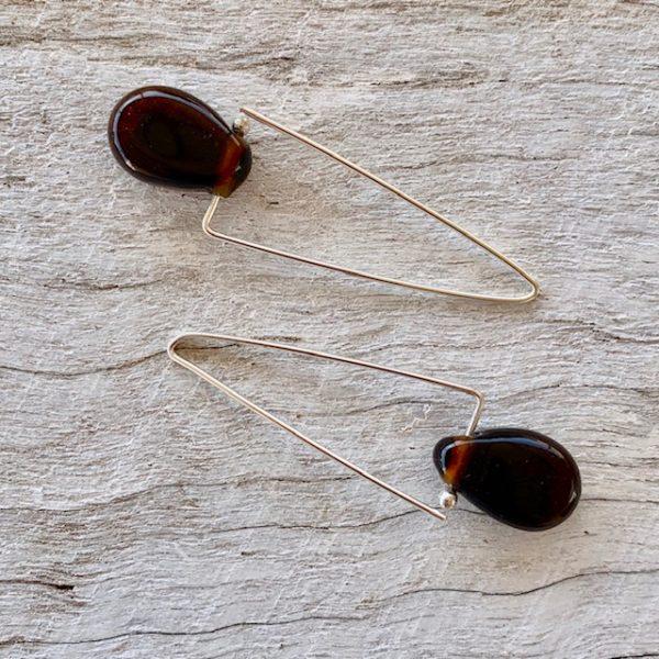 Recycled Glass Triangle Hoop Earrings