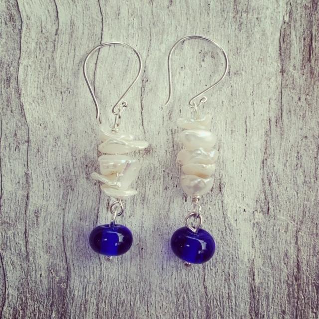 Pearl and Skyy Vodka earrings