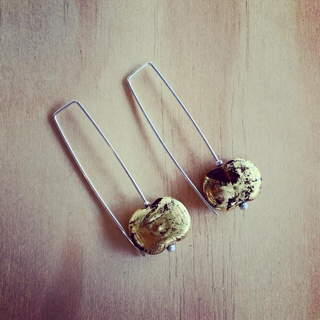 beer bottle earrings with gold leaf