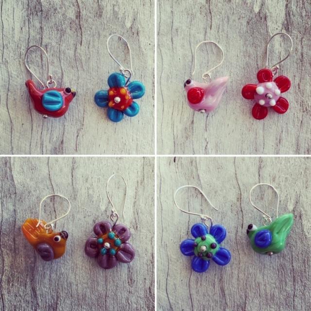 Bird and Flower earrings