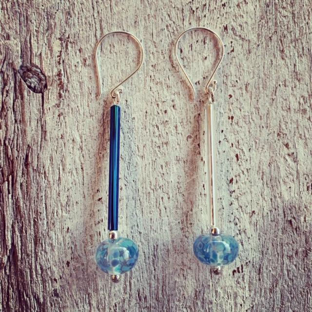 long blue wine bottle earrings