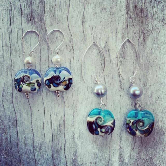Blue Ocean glass bead earrings