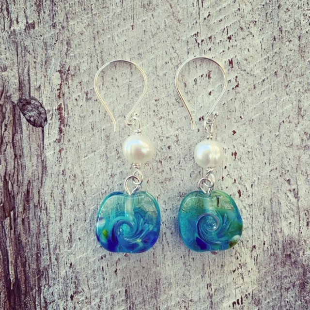 Pearl and glass earrings
