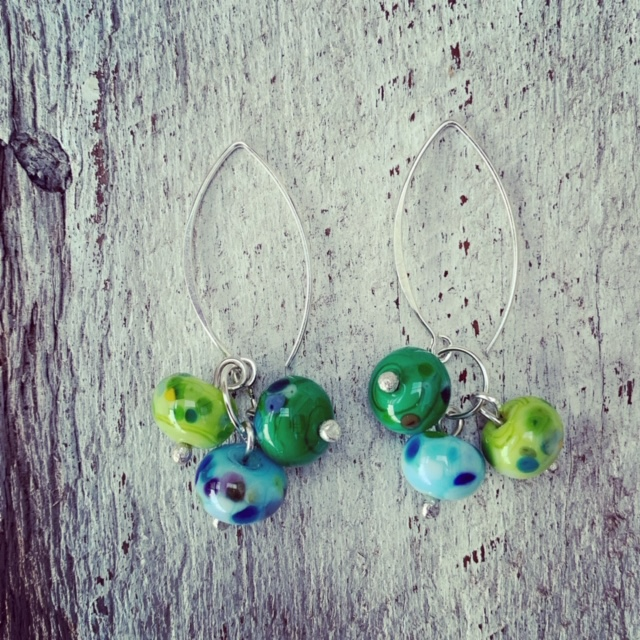 Green and blue cluster earrings