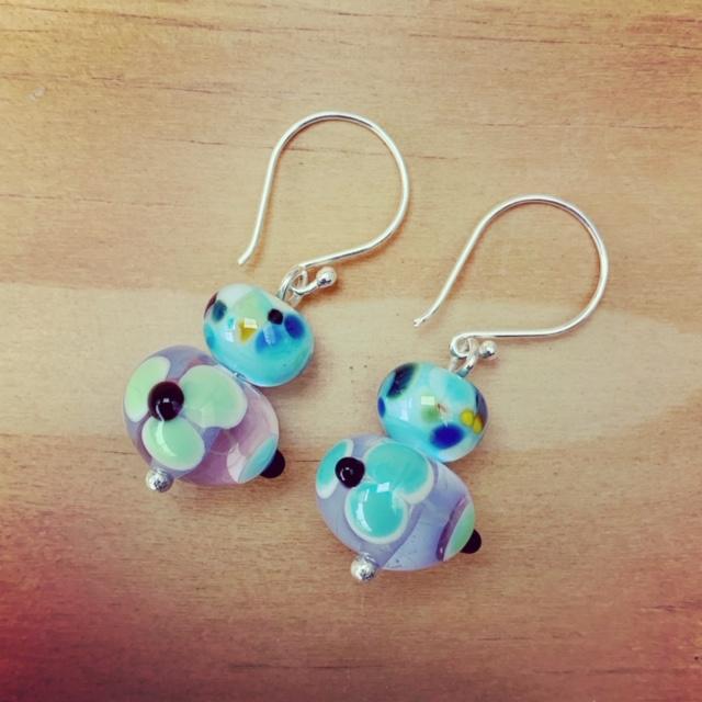 blue and green flower earrings