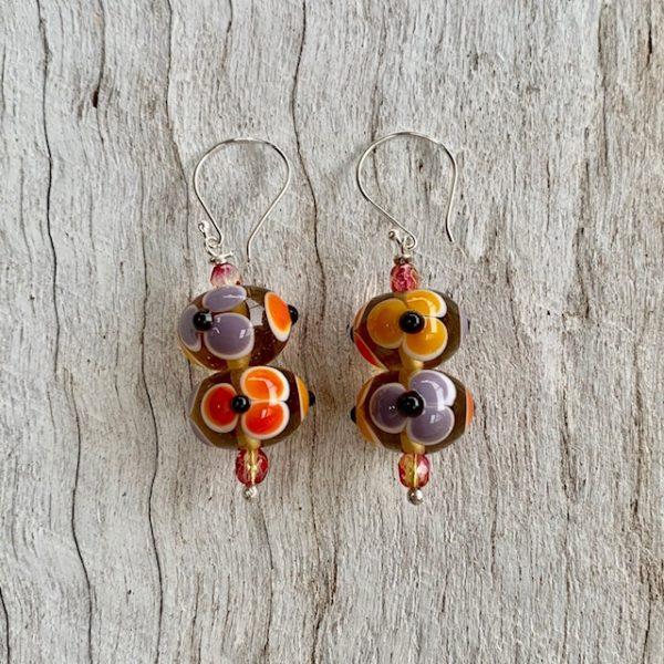 glass flower earrings