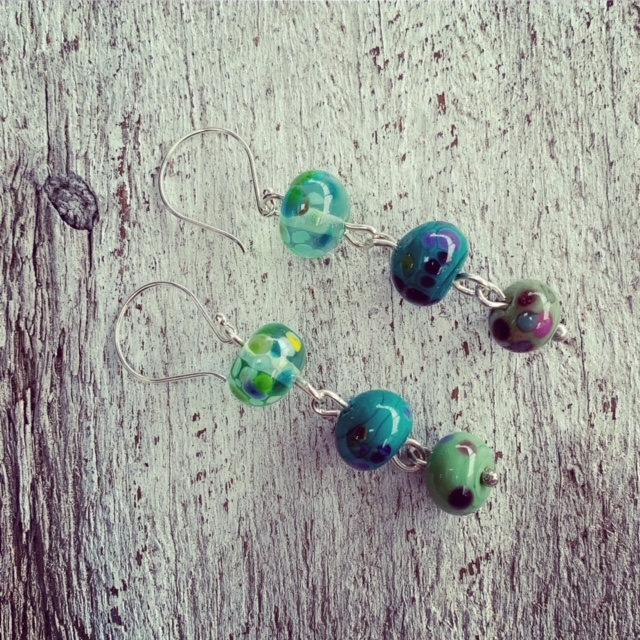 long green bead earrings
