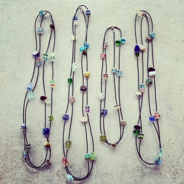 Long recycled glass bead necklaces