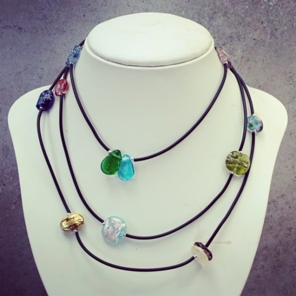 long recycled glass bead necklace