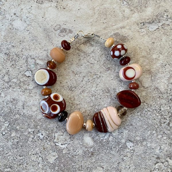 Brown handmade glass bead bracelet