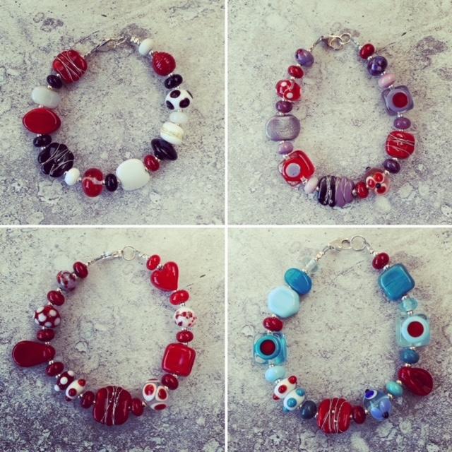 red glass bead bracelets