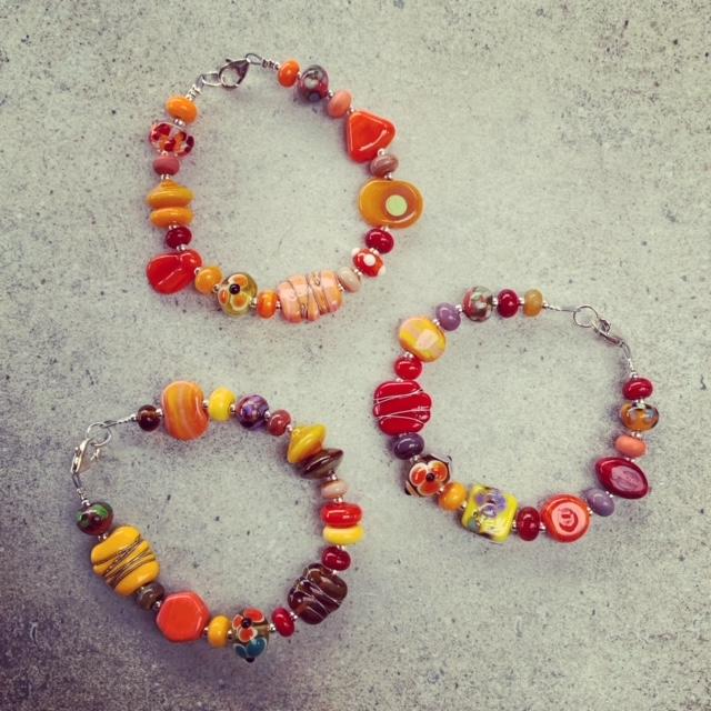 orange glass bead bracelets