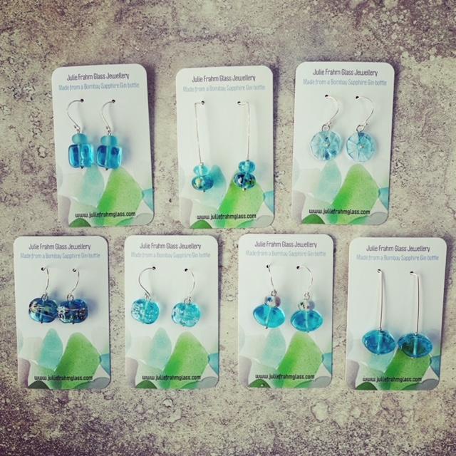 bombay sapphire gin bottle earrings