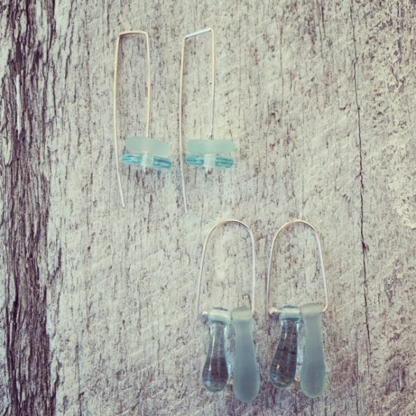Shiny and Etched Wine Bottle Earrings