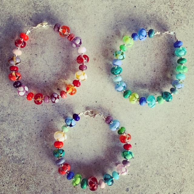 Colourful bead bracelets